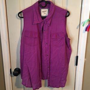 Bright purple button up tank top